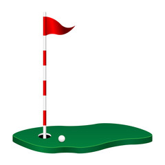Golf theme with green flag pole and ball