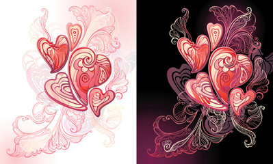 hearts and an openwork pattern