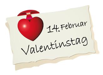 Merkzettel zum Valentinstag
