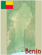 benin africa map flag emblem