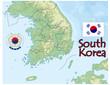 south korea map flag emblem