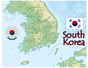 south korea map flag emblem