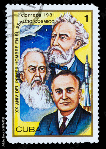 CUBA - CIRCA 1981:  stamp printed in CUBA, shows famous scientis