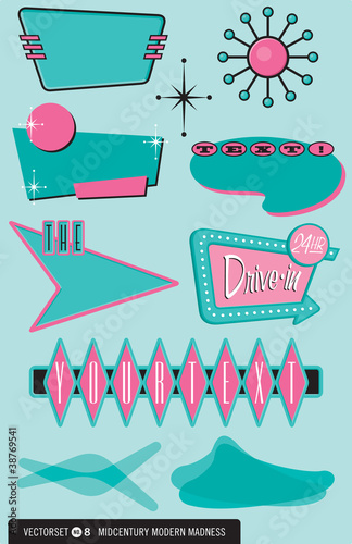 Set of 10 retro, 1950s design elements by rockindaddy, Royalty