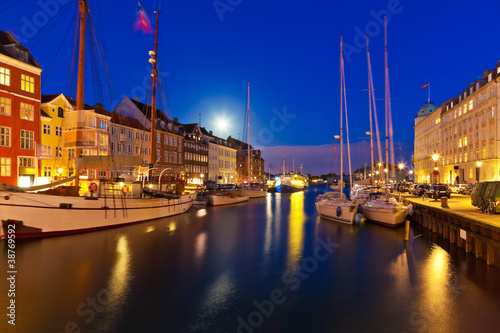 Night scenery of Nyhavn in Copenhagen, Denmark