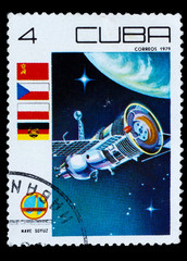 CUBA - CIRCA 1979: A stamp printed in CUBA, spacecraft, space st