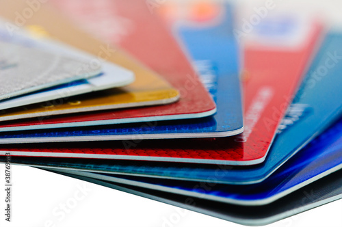 Credit cards and pen as a background.