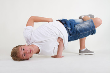 Teenager b-boy in freeze