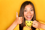 Woman drinking coffee happy thumbs up - 38770716