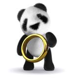 3d Panda Bear with gold ring
