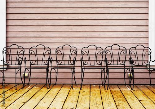 retro chairs on wooden floor