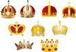 nine gold crowns isolated on white