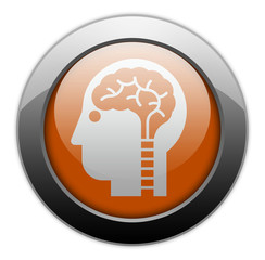 "Orange Metallic Orb Button ""Neurology"""