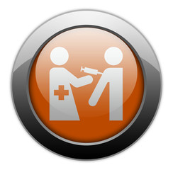 "Orange Metallic Orb Button ""Immunizations"""