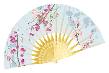 decorated floral fan isolated on white