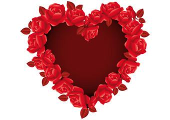 Cuore di San Valentino con rose rosse