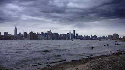 Manhattan Skyline Time Lapse from Beach