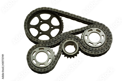 mechanism with gears and a chain