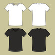Men's black and white t-shirt template
