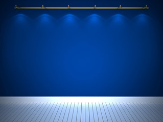 Illuminated blue wall