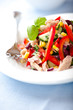Mixed vegetable salad with tuna and fresh herbs