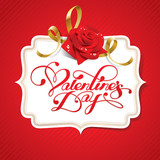 Valentine card with rose and calligraphic lettering. Vector