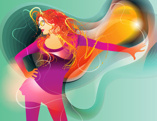The colorful dancing girl on abstract background. Vector