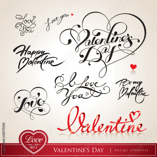 Set of Valentine's calligraphic headlines with hearts. Vector