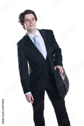 satisfied young man with notebook bag