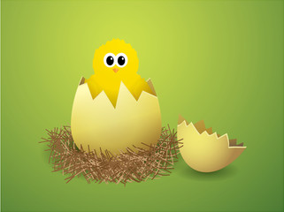 Illustration of a chicken in a nest