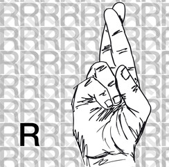 Sketch of Sign Language Hand Gestures, Letter R.