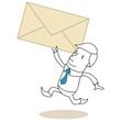 Geschäftsmann, Briefumschlag, rennend