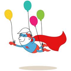 Superheld, fliegend, Luftballons
