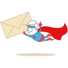 Superheld, fliegend, Briefumschlag