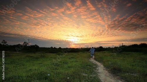 Staande foto Afrika A Beautiful Sunrise near a village in Kenya.