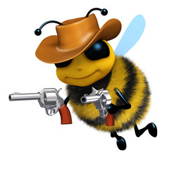 3d Bee is the sheriff with his two guns