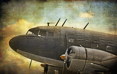 Old military aircraft, grunge background