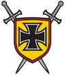 heraldic composition - shield, crossed swords and cross