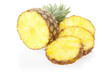 Pineapple and slices on white, clipping path included