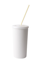 White plastic cup and straw isolated on white with clipping path