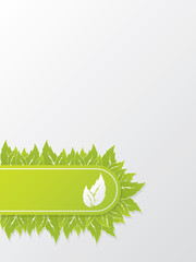 Abstract ecological brochure design with green leaves
