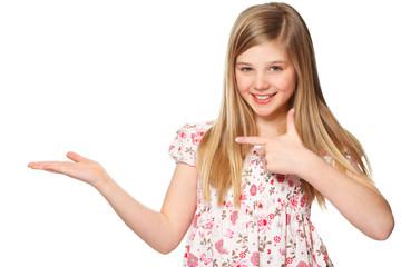 cute girl presenting copy space