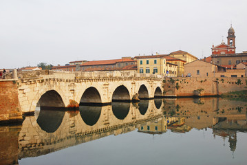 Italy, Rimini old roman bridge. Tiberio bridge.