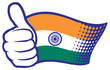 Flag of India. Hand showing thumbs up