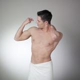 flexing pecs bulged muscles poster
