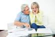 Senioren mit Unterlagen und Taschenrechner