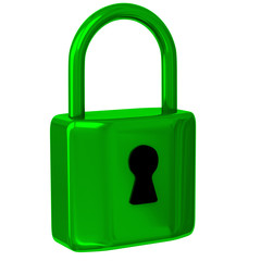 Green, closed padlock 3d