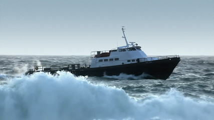 Boat in Rough Seas - Heading to Port