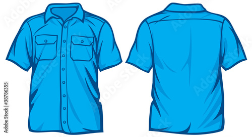 Men's shirt - blue short sleeve shirts