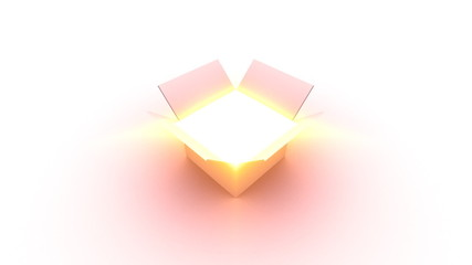 Box Opening and Fly Into Glowing Light